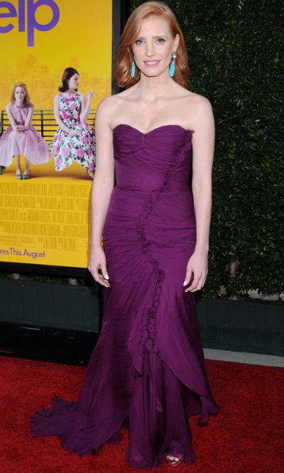 Jessica Chastain, elegancia de Oscar de la Renta