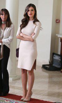 Sara Carbonero, impecable con su vestido nude
