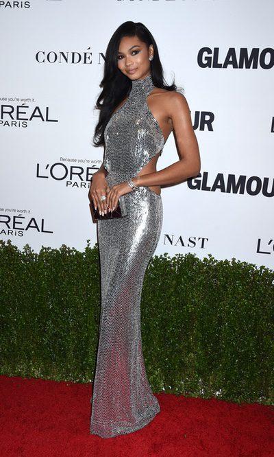 Chanel Iman con un look metalizado