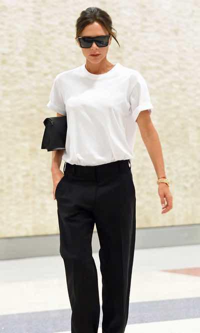 El look working girl de Victoria Beckham para viajar