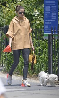 Olivia Palermo pasea a su perro con estilo